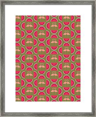 Watermelon Flamingo Print Framed Print by Susan Claire