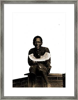 Watermelon Jake, African Americans, Children Framed Print by Litz Collection