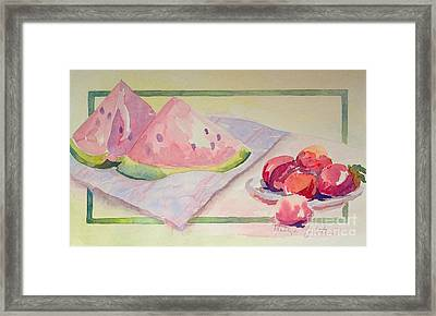 Framed Print featuring the painting Watermelon by Marilyn Zalatan