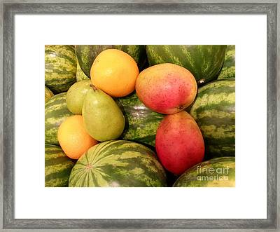 Watermelons And Fruity Friends Framed Print by Emmy Marie Vickers