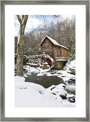 Watermill In A Forest In Winter, Glade Framed Print