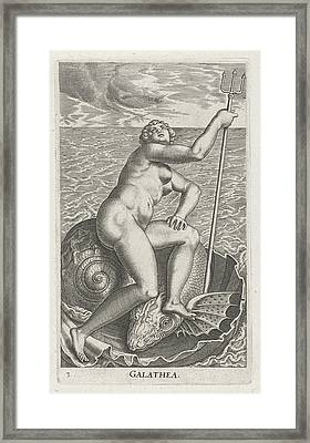Waternimf Galatea, Philips Galle Framed Print by Philips Galle