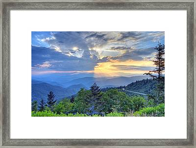 Waterrock Knob Sunset Framed Print by Mary Anne Baker