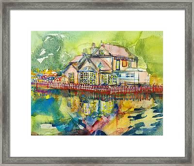 Waterside Tavern Wc On Paper Framed Print by Brenda Brin Booker