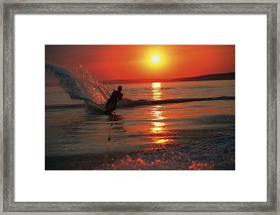 Waterskiing At Sunset Framed Print by Misty Bedwell