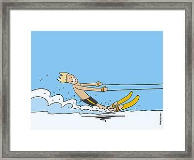 Waterskiing Happy Man Framed Print by Frank Ramspott