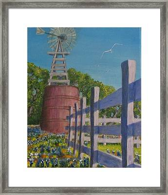 Watertank And Bluebonnets Framed Print