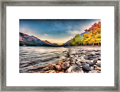 Waterton Lake In Autumn Colours Framed Print by Ron Harris