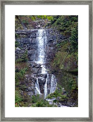 Waterton Waterfall Framed Print by Janet Ashworth