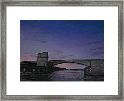 Waterway Bridge At Dusk Framed Print by Christopher Reid