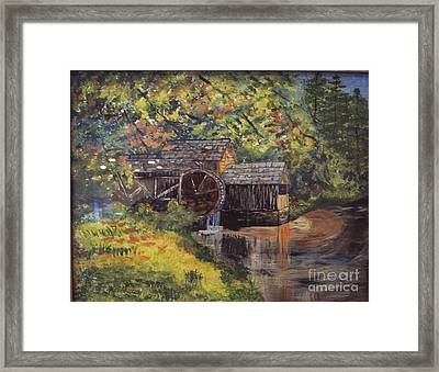 Waterwheel In Autumn Framed Print