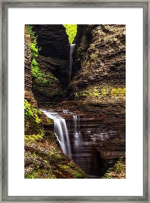 Watkins Glen Cavern Cascade Framed Print by Mark Papke