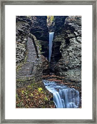 Watkins Glen Central Cascade Framed Print by Frozen in Time Fine Art Photography