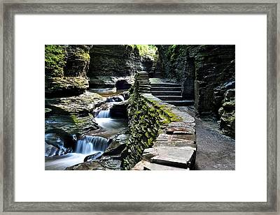Watkins Glen Exiting The Trail Framed Print by Frozen in Time Fine Art Photography