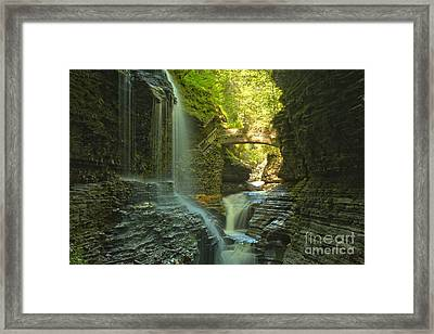 Watkins Glen Falls In The Canyon Framed Print by Adam Jewell