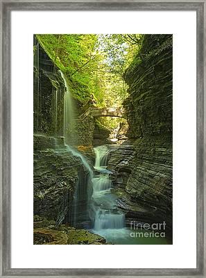 Watkins Glen Rainbow Falls Portrait Framed Print by Adam Jewell