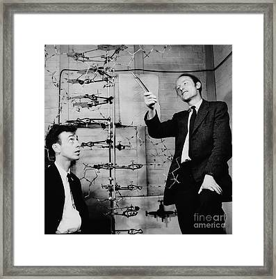 Watson And Crick With Dna Model Framed Print