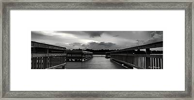 Watson Bayou Pier Bw Framed Print by Debra Forand