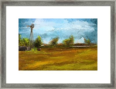 Watson Farm In Rhode Island - Old Windmill And Farming Art Framed Print