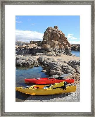 Watson Lake Framed Print by Diane Greco-Lesser