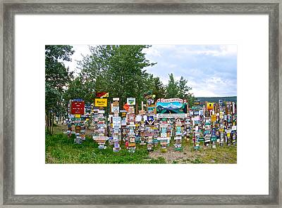 Watson Lake Sign Forest Along Alaska Highway In  Yukon-canada Framed Print by Ruth Hager