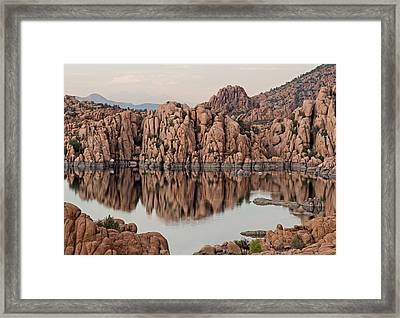 Watson Lake Tranquility Framed Print by Angie Schutt