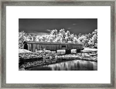 Watson Mill Covered Bridge In Infrared Framed Print by Linda Mcfarland