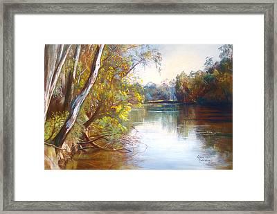 Wattle Time Goulburn River Framed Print by Lynda Robinson