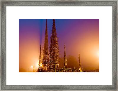 Watts Towers At Night, Watts, Los Framed Print by Panoramic Images