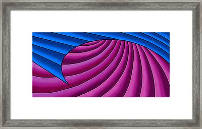 Framed Print featuring the digital art Wave - Blue And Plum by Judi Quelland