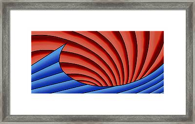 Framed Print featuring the digital art Wave - Blue And Red by Judi Quelland
