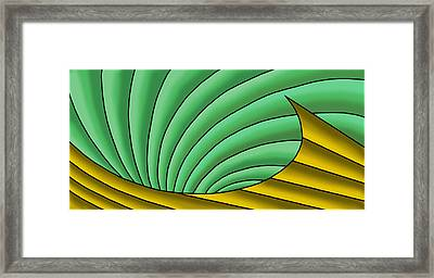 Framed Print featuring the digital art Wave  - Gold And Green by Judi Quelland