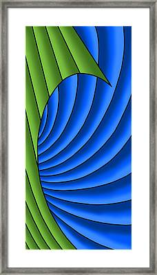 Framed Print featuring the digital art Wave - Green And Blue by Judi Quelland