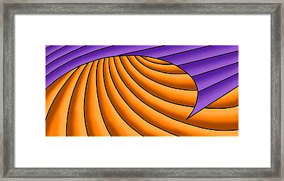Framed Print featuring the digital art Wave - Purple And Orange by Judi Quelland