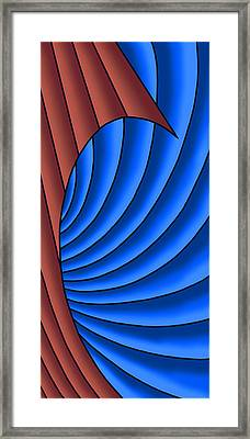 Framed Print featuring the digital art Wave - Red And Blue by Judi Quelland