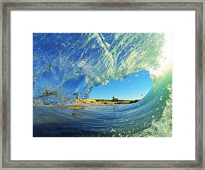Framed Print featuring the photograph Wave And Lighthouse 1 by Paul Topp