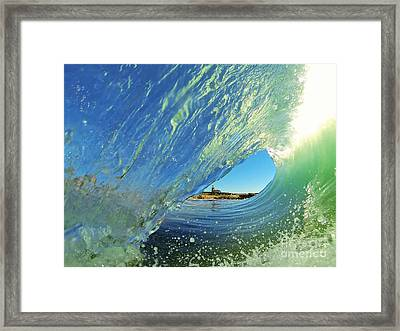 Framed Print featuring the photograph Wave And Lighthouse 2 by Paul Topp