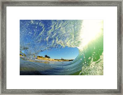Framed Print featuring the photograph Wave And Lighthouse 3 by Paul Topp