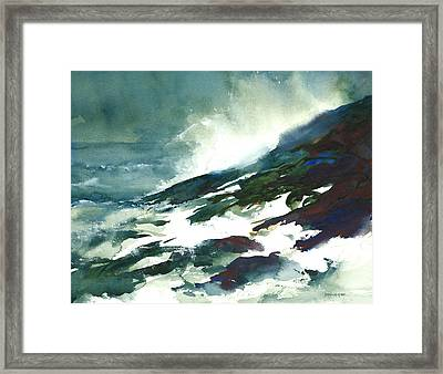 Wave And Rocks - Storm On The North Shore Framed Print