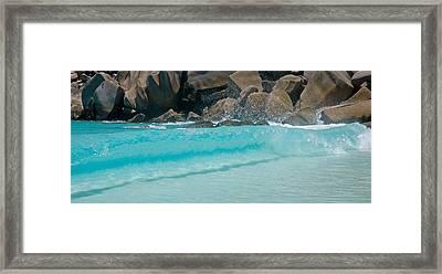 Wave At Petite Anse, La Digue Framed Print