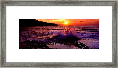 Wave Breaking On Rocks, Bempton Framed Print by Panoramic Images