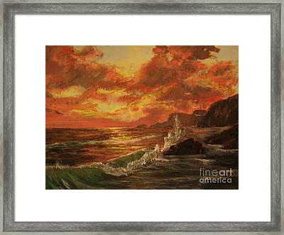 Framed Print featuring the painting Wave Crash by Vanessa Palomino