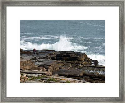 Wave Hitting Rock Framed Print by Catherine Gagne