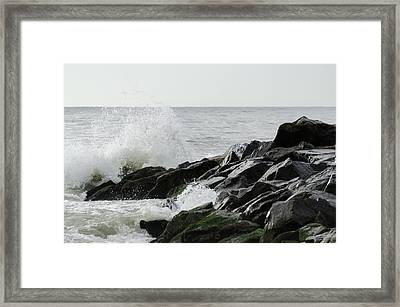 Wave On Rocks Framed Print