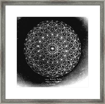 Framed Print featuring the drawing Wave Particle Duality Black White by Jason Padgett