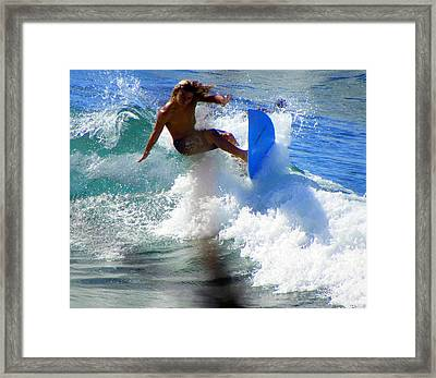 Wave Rider Framed Print by Karen Wiles