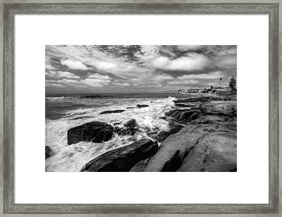 Wave Wash - Black And White Framed Print by Peter Tellone
