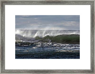 Wave With Wind Framed Print by Michael Bruce