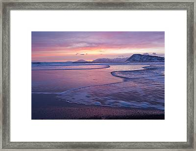 Waves Across A Sand Bar Framed Print by Tim Grams