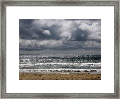 Waves And Beach Framed Print by Karen E Phillips